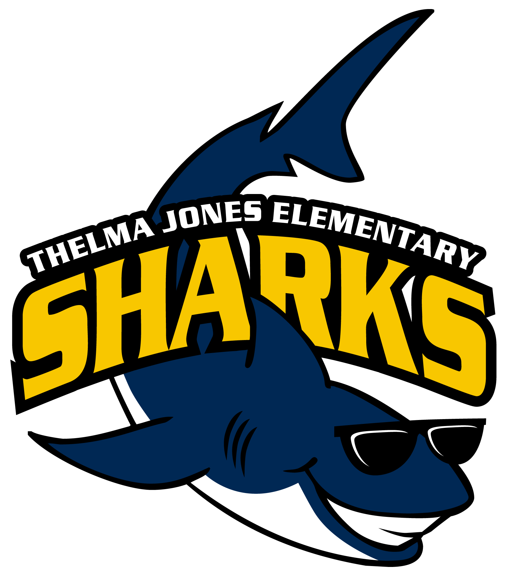 Thelma Jones Elementary Sharks Logo